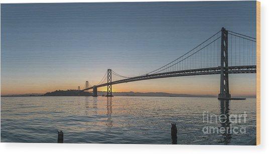 San Francisco Bay Brdige Just Before Sunrise Wood Print