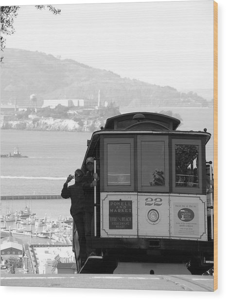 San Francisco Cable Car With Alcatraz Wood Print