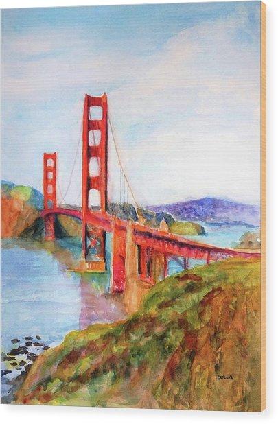 San Francisco Golden Gate Bridge Impressionism Wood Print