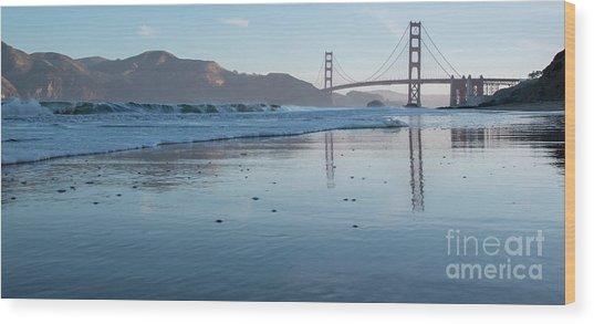 San Francisco Golden Gate Bridge Reflected On Baker's Beach Wet  Wood Print