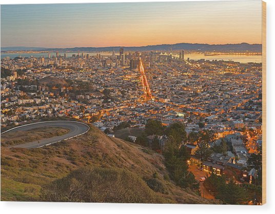 San Francisco Sunrise Wood Print