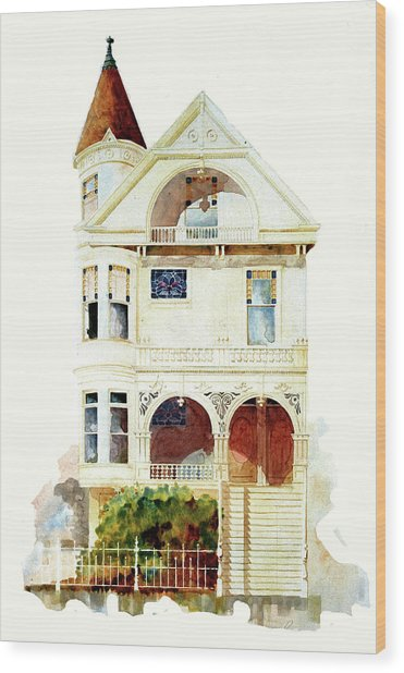 San Francisco Victorian Wood Print by William Renzulli
