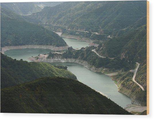 San Gabriel Dam Wood Print