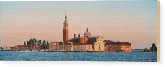 Wood Print featuring the photograph San Giorgio Maggiore Church Sunrise Panorama by Songquan Deng