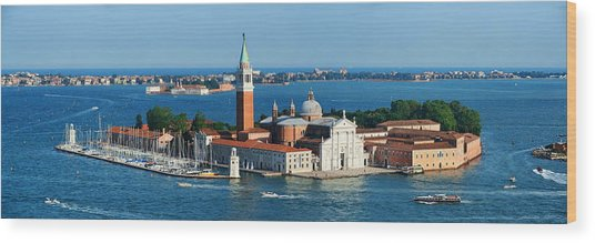 Wood Print featuring the photograph San Giorgio Maggiore Island Panorama by Songquan Deng