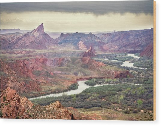 San Juan River And Mule's Ear Wood Print