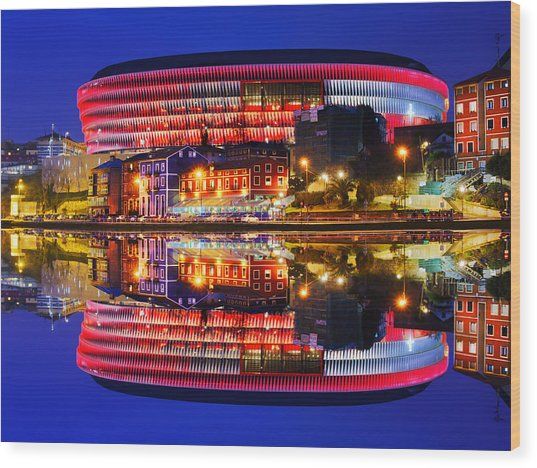 San Mames Stadium At Night With Water Reflections Wood Print