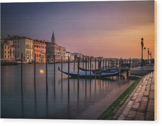 San Marco Campanile With Gondolas At Grand Canal During Calm Sunrise, Venice, Italy, Europe. Wood Print