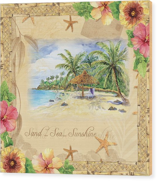Sand Sea Sunshine On Tropical Beach Shores Wood Print