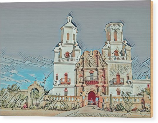 Wood Print featuring the photograph San Xavier Del Bac Remix One by Dan McManus