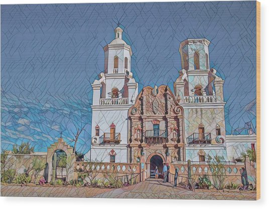 Wood Print featuring the photograph San Xavier Del Bac Remix Two by Dan McManus