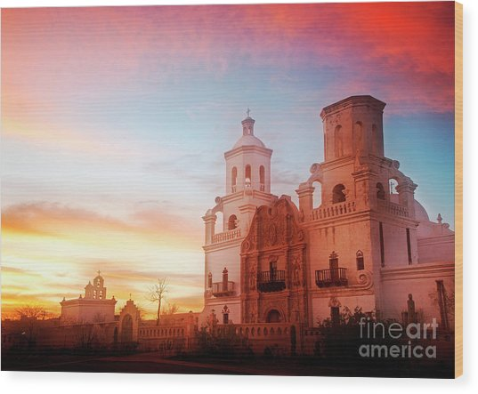 Wood Print featuring the photograph San Xavier Del Bac by Scott Kemper