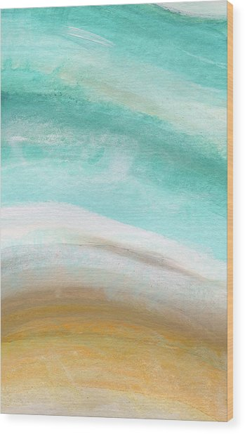 Sand And Saltwater- Abstract Art By Linda Woods Wood Print