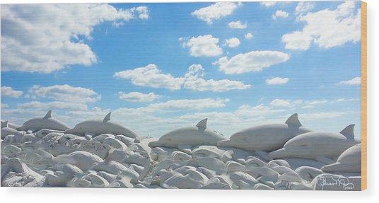 Sand Dolphins At Siesta Key Beach Wood Print