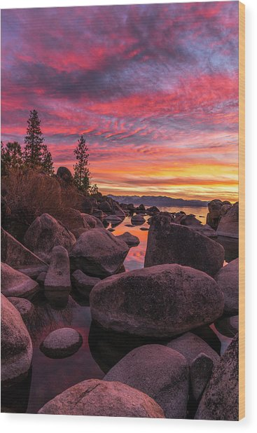 Sand Harbor Beach Wood Print