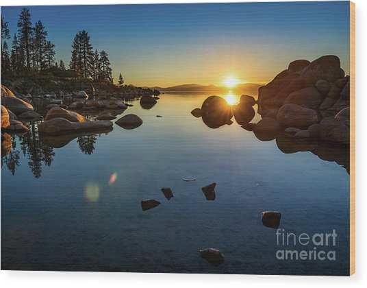 Sand Harbor Sunset Wood Print
