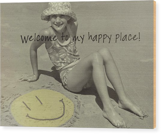 Sand Smile Quote Wood Print by JAMART Photography