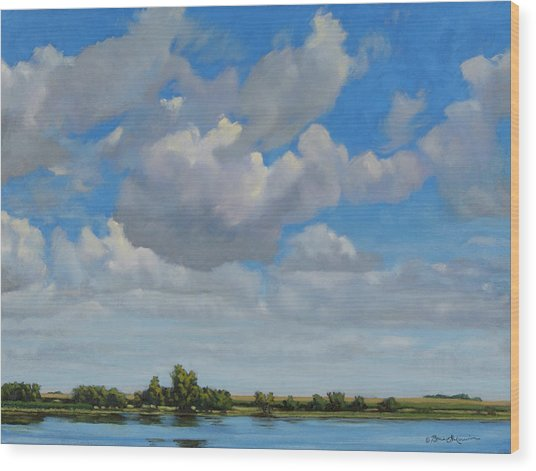 Sandbar Slough July Skies Wood Print