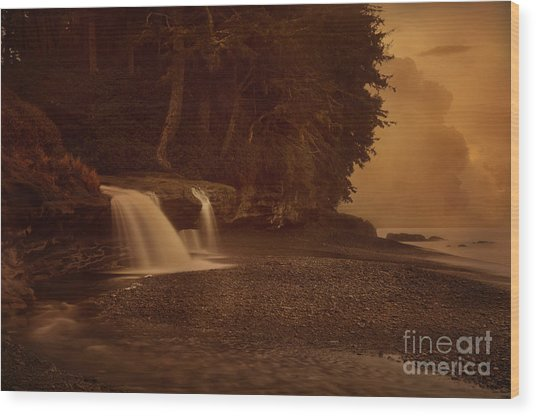 Sandcut Beach Waterfalls  Wood Print