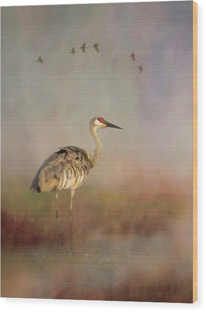Sandhill Crane - Painterly Vertical Wood Print