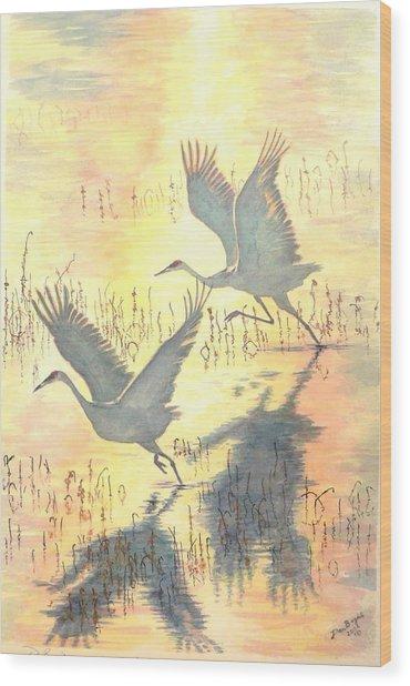 Sandhill Cranes Wood Print by Dan Bozich