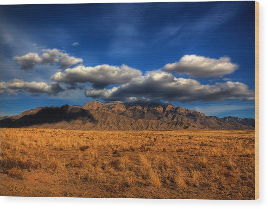 Sandia Crest In Late Afternoon Light Wood Print