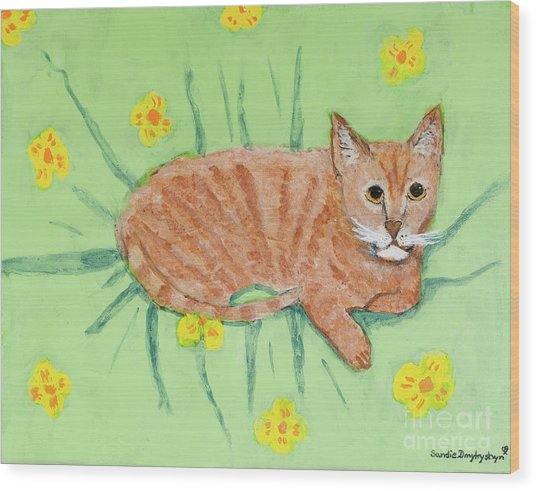 Sandie's Cat Wood Print
