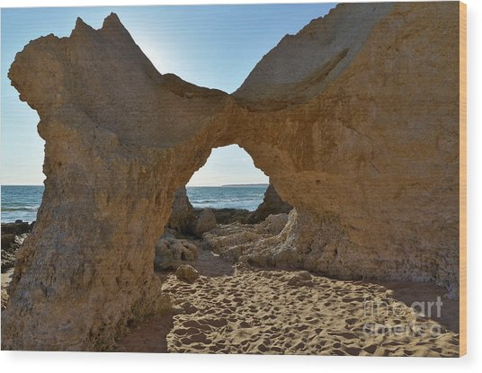 Sandstone Arch In Gale Beach. Algarve Wood Print