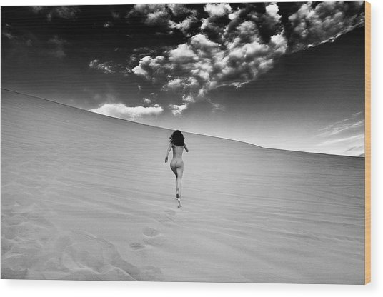 Sandy Dune Nude - Catching The Clouds Wood Print