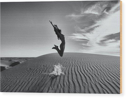 Sandy Dune Nude - The Jump Wood Print