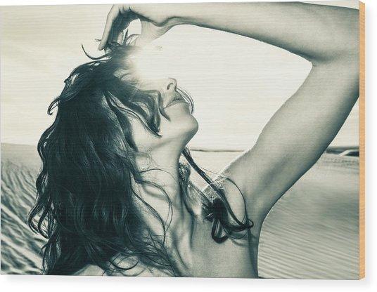 Sandy Dune Nude - The Woman Wood Print