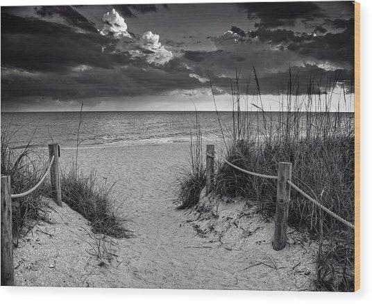 Sanibel Island Beach Access In Black And White Wood Print