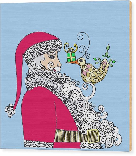 Santa And Bird On Blue Wood Print