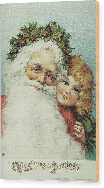 Santa And His Little Admirer Wood Print