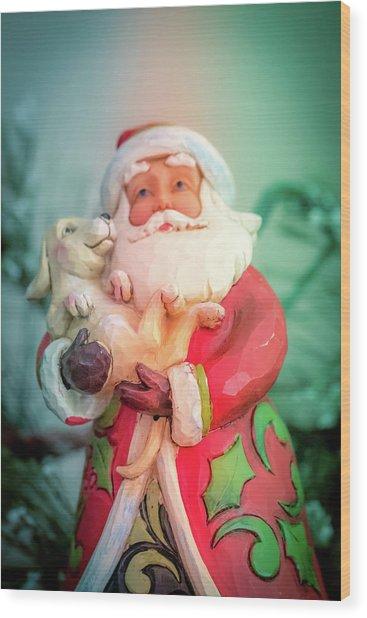 Santa And Lab Pup Wood Print