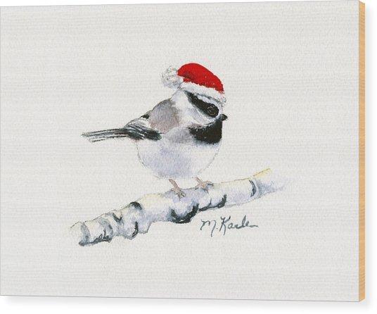 Santa Bandit - Chickadee Wood Print