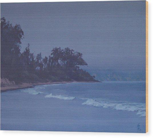 Santa Barbara Beach At Twilight Wood Print by Philip Fleischer