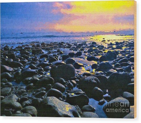 Santa Barbara Beach Sunset California Wood Print