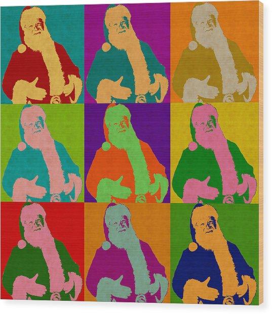 Santa Claus Andy Warhol Style Wood Print