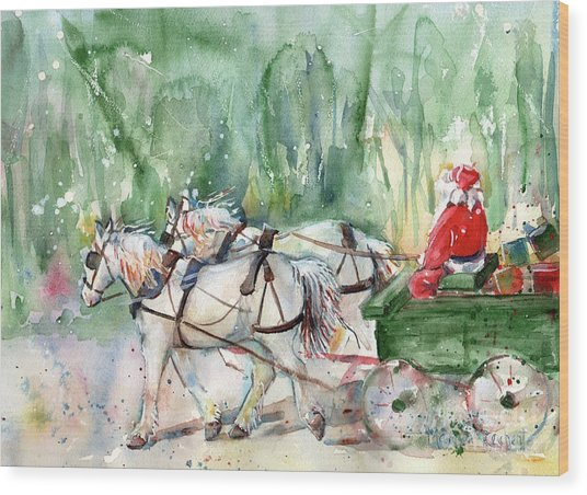 Santa Claus Is Coming To Town Wood Print
