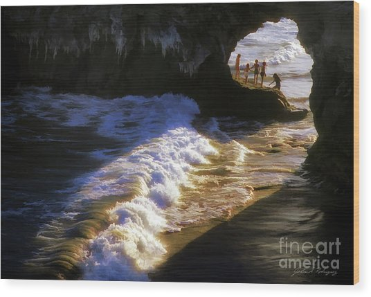 Santa Cruz 'bridge' California Coastline Wood Print