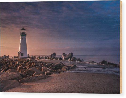 Santa Cruz Harbor Walton Lighthouse Wood Print