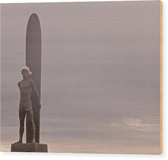 Santa Cruz Santa Surfer  Wood Print