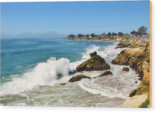 Santa Cruz Wave Spray Wood Print