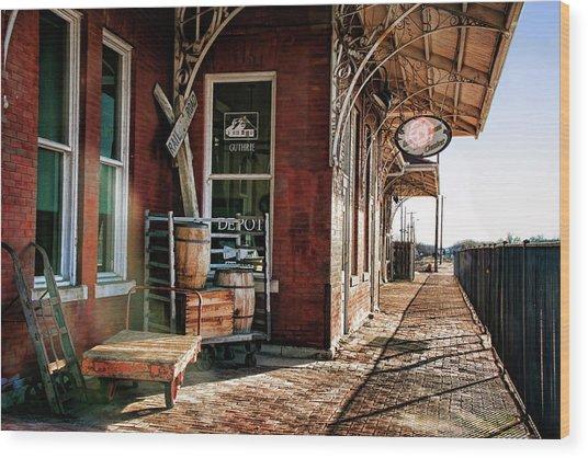 Santa Fe Depot Of Guthrie Wood Print