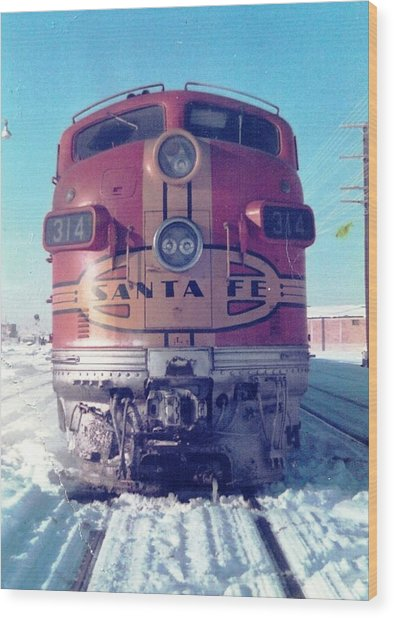 Santa Fe Locomotive At Gallup New Mexico Wood Print