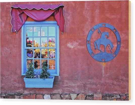 Santa Fe Street Reflection Wood Print