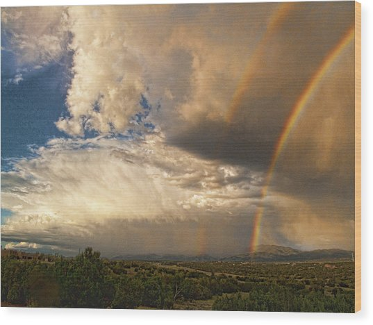 Santa Fe Summer Sky With Double Rainbow Wood Print