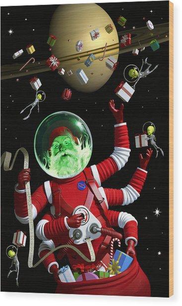 Santa In Space Wood Print by Alex Tomlinson