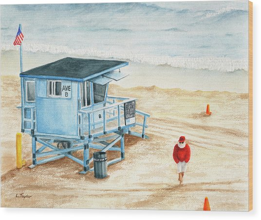 Santa Is On The Beach Wood Print